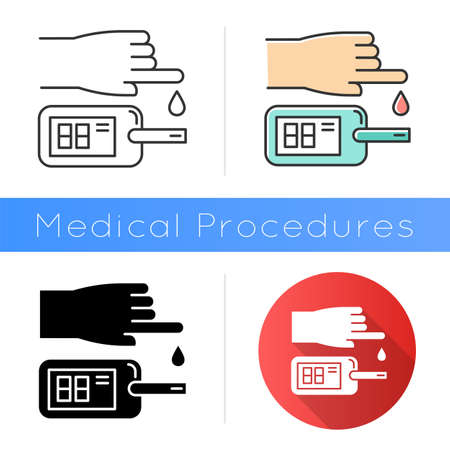 Blood test icon. Disease analysis. Illness check. Infection examination. Medical procedure. Glucometer. Glucose test. Hospital lab. Flat design, linear and color styles. Isolated vector illustrations Ilustracja