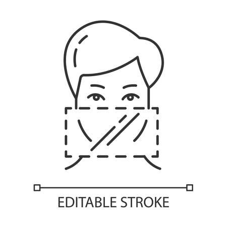 Dental dams linear icon. Female oral preservative. Latex contraceptive. Safe sex. AIDs protection. Thin line illustration. Contour symbol. Vector isolated outline drawing. Editable stroke