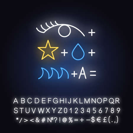 Rebus neon light icon. Conundrum, brainteaser. Abstract reasoning. Ingenuity, intelligence test. Brain teaser. Glowing sign with alphabet, numbers and symbols. Vector isolated illustration