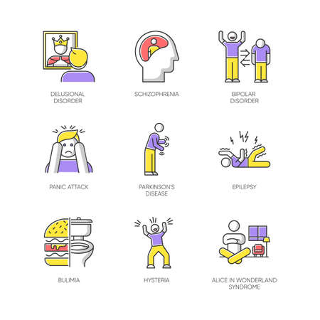 Mental disorder color icons set. Delusion and schizophrenia. Bipolar disorder. Panic attack. Parkinson disease. Epilepsy. Bulimia. Hysteria. Alice in wonderland syndrome. Isolated vector illustrations