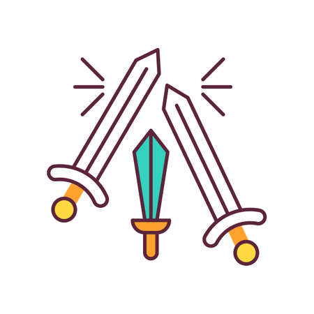 Sword fighting color icon. Weapon clashing. Battling and war. Ancient history. Longswords and broadswords. Military competition. Battlefield. Medieval culture. Isolated vector illustration
