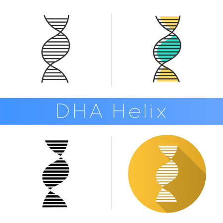 Right-handed DNA helix icon. B-DNA. Deoxyribonucleic, nucleic acid. Chromosome. Molecular biology. Genetic code. Genome. Genetics. Flat design, linear and color styles. Isolated vector illustrations