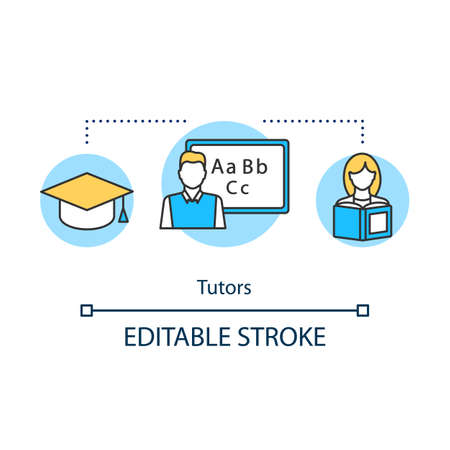 Tutors concept icon. Tutoring education. Private lessons improve academic performance of student. University preparation idea thin line illustration. Vector isolated outline drawing. Editable stroke