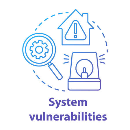 System vulnerabilities blue gradient concept icon. Smart house flaws idea thin line illustration. Negative effects of innovative technology for apartments. Vector isolated outline drawing