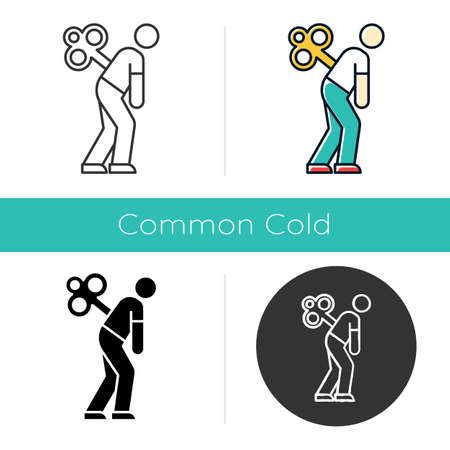Fatigue icon. Tired man. Overworked person. Common cold symptom. Chronic depression. Unhappiness, frustration. Grippe sickness. Flat design, linear and color styles. Isolated vector illustrations