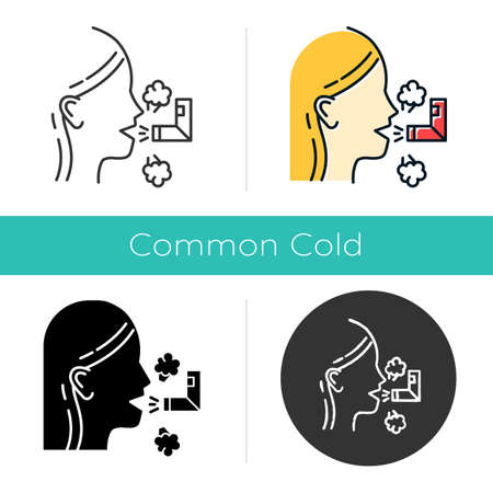 Inhalation icon. Respiratory treatment. Asthma help. Breathing problem cure. Sick girl with sprayer. Healthcare. Common cold. Flat design, linear and color styles. Isolated vector illustrations Vectores