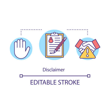 Disclaimer concept icon. Dangerous collaboration. Participation in dubious enterprise. Resignation letter idea thin line illustration. Vector isolated outline drawing. Editable stroke Иллюстрация