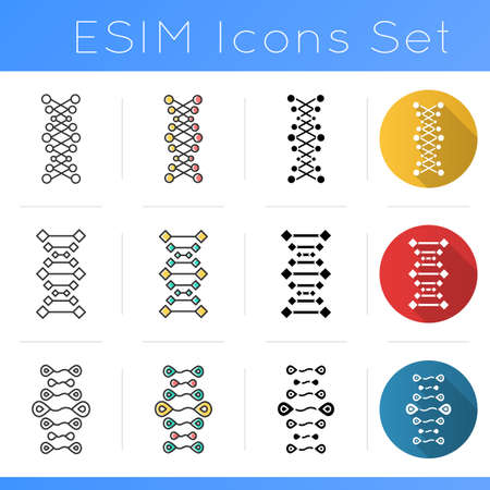 DNA chains icons set. Deoxyribonucleic, nucleic acid helix. Spiraling strands. Chromosome. Molecular biology. Genetic code. Flat design, linear, black and color styles. Isolated vector illustrations