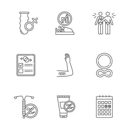 Safe linear icons set. Condom. Intercourse. Masturbation. Contraceptive. Intrauterine device. Spermicide. Thin line contour symbols. Isolated vector outline illustrations. Editable stroke