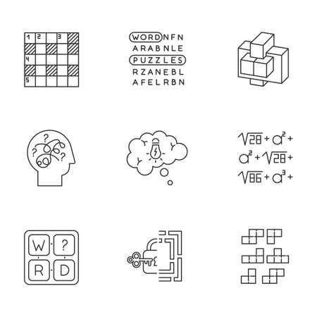 Puzzles and riddles linear icons set. Construction, word puzzle. Crossword. Math problem. Puzzled mind. Brain teaser. Thin line contour symbols. Isolated vector outline illustrations. Editable stroke