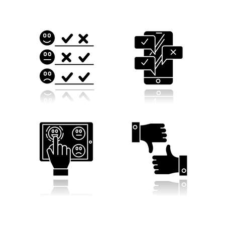 Survey drop shadow black glyph icons set. Pick satisfaction level. Positive, negative feedback. Sad, happy emoticons. Checklist. Online chat. Like, dislike sign. Isolated vector illustrations Illustration