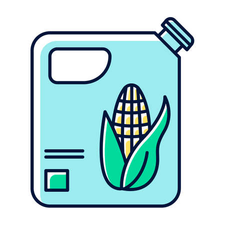 Blue plastic bottle of corn oil color icon. Organic chemistry. Vegetable oil production and distribution. Corn ethanol for biofuel. Gasoline substitute. Isolated vector illustration