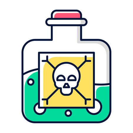 Icono de color líquido peligroso. Productos químicos muy peligrosos. Veneno verde en botella. Química Orgánica. Sustancia venenosa y nociva. Etiqueta de huesos del cráneo. Ilustración de vector aislado
