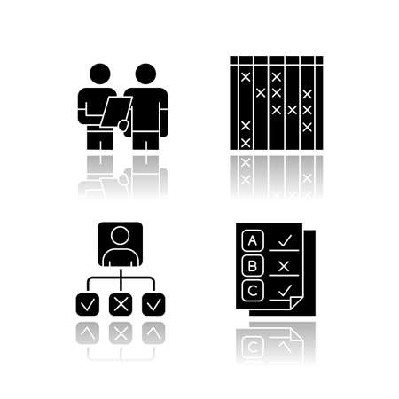 Survey drop shadow black glyph icons set. Interview, questioning. Checklist mark. Info collection, analysis. Personal profile. Questionnaire. Check list, select option. Isolated vector illustrations