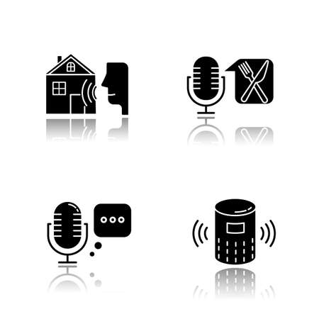Remote control system drop shadow black glyph icons set. Virtual assistance. Microphones, speaker. Speech recognition equipment. Smart home technology, food order. Isolated vector illustrations Vettoriali