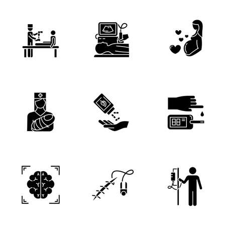Medical procedure glyph icons set. Prosthetics. Ultrasound diagnostic. Pregnancy, pediatrics. Homeopathy. Blood test. Brain scan. Stitching. Dropper. Silhouette symbols. Vector isolated illustration