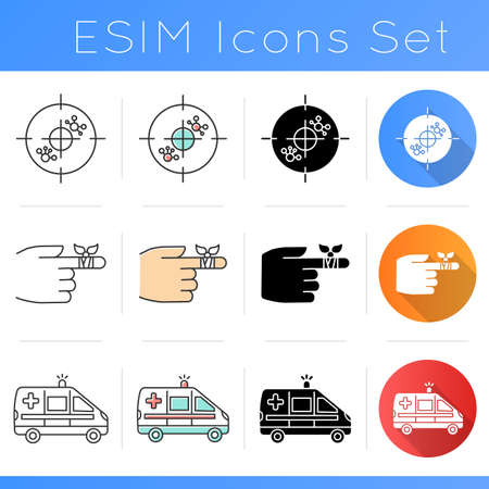 Medical procedure icons set. Immunotherapy. Bandaging finger. Emergency medical aid. Healthcare. Ambulence. Molecules. Flat design, linear, black and color styles. Isolated vector illustrations
