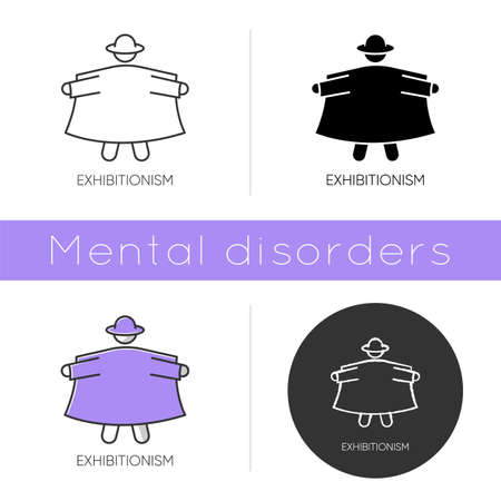 Exhibitionism icon. Nude body exposure. Pervert in open coat. Deviation and perversion. Paraphilia. Mental disorder. Flat design, linear and color styles. Isolated vector illustrations