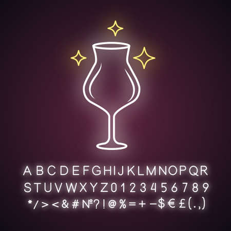Empty wine glass neon light icon. Crystal glassware shapes, types. Clear glass for dessert and red wine. Alcohol drinking. Glowing sign with alphabet, numbers and symbols. Vector isolated illustration