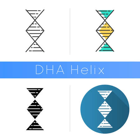 Diamond-shaped DNA helix icon. Deoxyribonucleic, nucleic acid. Chromosome. Molecular biology. Genetic code. Genome. Genetics. Flat design, linear and color styles. Isolated vector illustrations