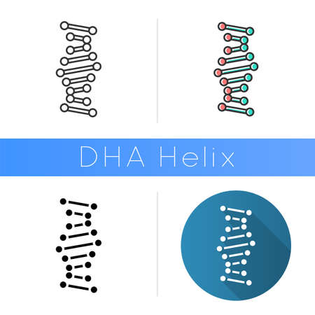 DNA helix icon. Connected dots, lines. Deoxyribonucleic, nucleic acid. Chromosome. Molecular biology. Genetic code. Genetics. Flat design, linear and color styles. Isolated vector illustrations