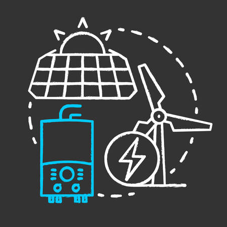 Autonomous power supplies chalk concept icon. Sustainable smart house idea. Producing energy methods. Installing sun batteries and windmills. Vector isolated chalkboard illustration Illustration