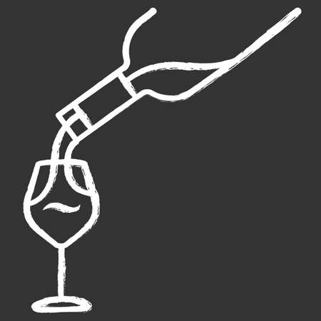 Wine service chalk icon. Alcohol beverage pouring in glass. Aperitif drink bottle. Barman, sommelier, winery. Bar, restaurant. Party, celebration. Isolated vector chalkboard illustration
