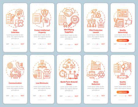 Local production onboarding mobile app page screen vector template. Entrepreneurship. Business launch. Walkthrough website steps with linear illustrations. UX, UI, GUI smartphone interface concept Vektoros illusztráció