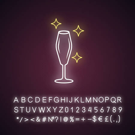 Empty wine glass neon light icon. Crystal glassware shapes and types. Glass for sparkling wine. Alcohol drinking. Glowing sign with alphabet, numbers and symbols. Vector isolated illustration