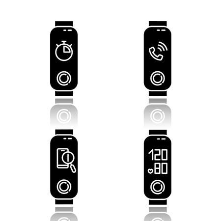 Fitness tracker functions drop shadow black glyph icons set. Weelness accessory with incoming call and lost phone location option. Blood pressure and stopwatch pictogram. Isolated vector illustrations Vector Illustration