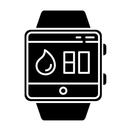 Water balance tracking smartwatch function glyph icon. Fitness wristband. Hydration remindings and measurements. Water resistant device. Silhouette symbol. Negative space. Vector isolated illustration