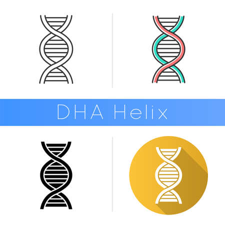 DNA helix icon. Deoxyribonucleic, nucleic acid structure. Chromosome. Molecular biology. Genetic code. Genome. Genetics. Medicine. Flat design, linear and color styles. Isolated vector illustrations