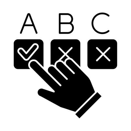 Choosing option glyph icon. Hand pick checkbox. Selecting answer. Making decision. Online survey. Click button. Voting, questionnaire. Silhouette symbol. Negative space. Vector isolated illustration Vector Illustratie