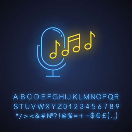 Ringtone recognition neon light icon. Melody definition app idea. Sound recorded. Microphone and notes, music equipment. Glowing sign with alphabet, numbers and symbols. Vector isolated illustration Ilustração