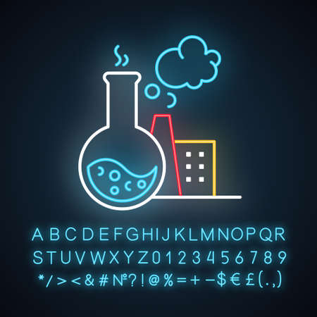 Chemical industry neon light icon. Synthetic materials researching, production. Flask, smoking plant. Polluting factory. Glowing sign with alphabet, numbers and symbols. Vector isolated illustration