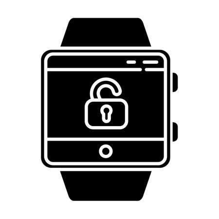 Screen unlocking smartwatch function glyph icon. Security and convenience device feature. Fitness wristband. Opened lock symbol. Silhouette symbol. Negative space. Vector isolated illustration