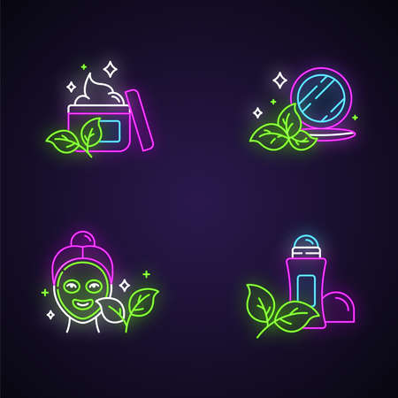Organic cosmetics neon light icons set. Face cream. Pressed makeup powder. Face mask. Deodorant, antiperspirant. Paraben free beauty products. Skincare. Glowing signs. Vector isolated illustrations
