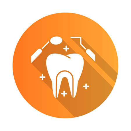Dental care orange flat design long shadow glyph icon. Medical procedures. Dentistry. Odontology. Tooth examination. Cavity treatment. Caries prevention. Toothache. Vector silhouette illustration 向量圖像