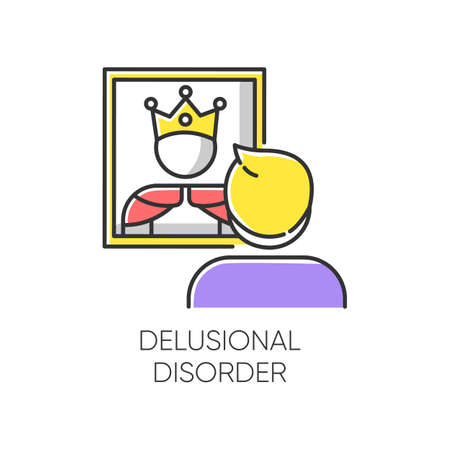 Delusional disorder color icon. Man in mirror reflection. Bizzare and false beliefs. Optical delusion. Megalomania. Clinical psychology. Mental illness. Isolated vector illustration