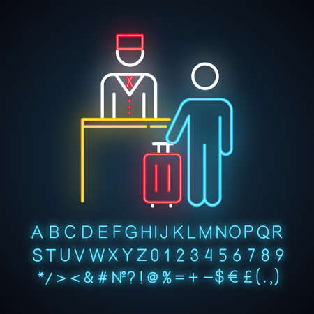 Hospitality industry neon light icon. Tourist. Receptionist, concierge. Reservation desk. Tourism business. Glowing sign with alphabet, numbers and symbols. Vector isolated illustration