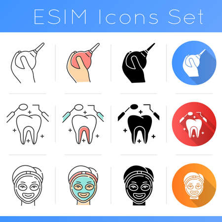 Medical procedure icons set. Lavement. Dental care. Cosmetology services. Facial mask. Constipation aid. Stomatology. Flat design, linear, black and color styles. Isolated vector illustrations