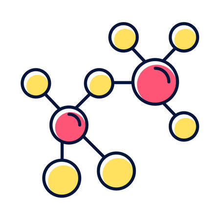 Red and yellow molecule color icon. Multicolored crystal structure. Molecular ball and stick model. Organic chemistry elements. Scientific atom modeling. Isolated vector illustration