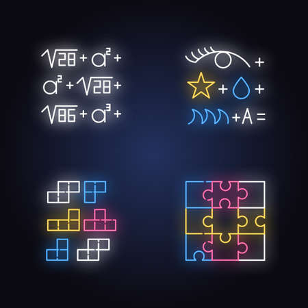Puzzles and riddles neon light icons set. Rebus. Block puzzle, tile matching. Jigsaw. Logic games. Mental exercise. Brain teaser. Solution finding. Glowing signs. Vector isolated illustrations