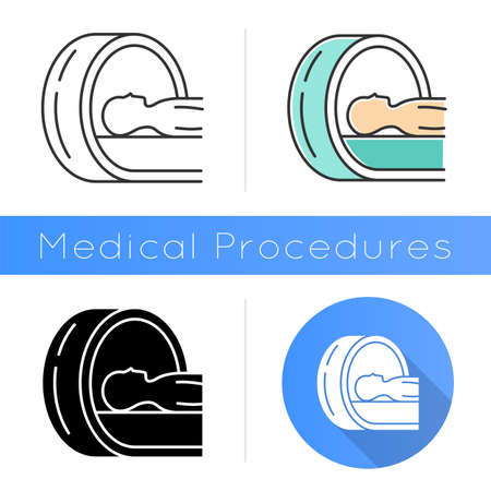 Tomography icon. Brain scan. Cancer tumor risk check. Illness diagnosis. Disease examination. Hospital equipment. Health evaluation. Flat design, linear and color styles. Isolated vector illustrations