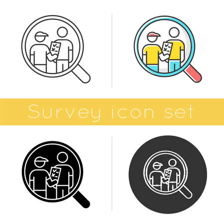 Personal interview survey icon. Face-to-face poll. Social research. Customer satisfaction. Feedback. Data collection. Glyph design, linear, chalk and color styles. Isolated vector illustrations