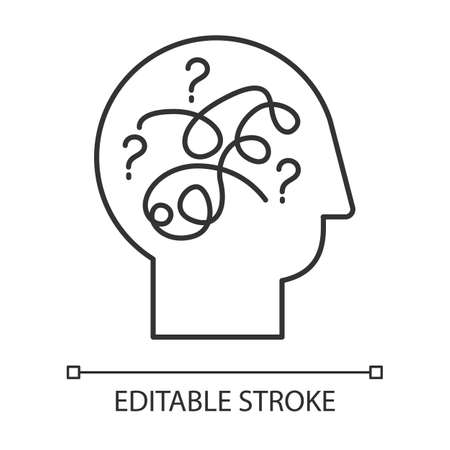 Puzzled mind linear icon. Mental exercise, challenge. Intelligence test. Brain teaser. Logic questions. Thin line illustration. Contour symbol. Vector isolated outline drawing. Editable stroke