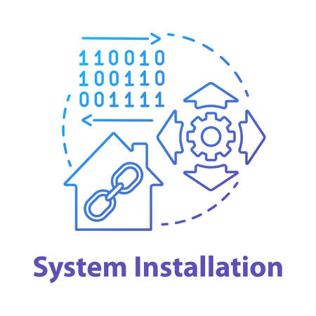 System installation blue gradient concept icon. Smart house setup process idea thin line illustration. Introducing innovative technology for apartment. Vector isolated outline drawing