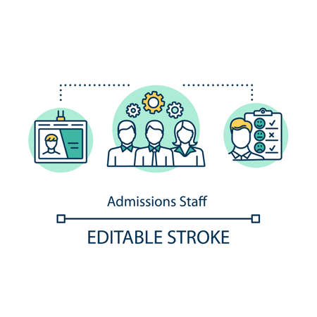 Admission staff concept icon. Selection committee. Employment service. Human resources, career and recruitment idea thin line illustration. Vector isolated outline drawing. Editable stroke Vektoros illusztráció