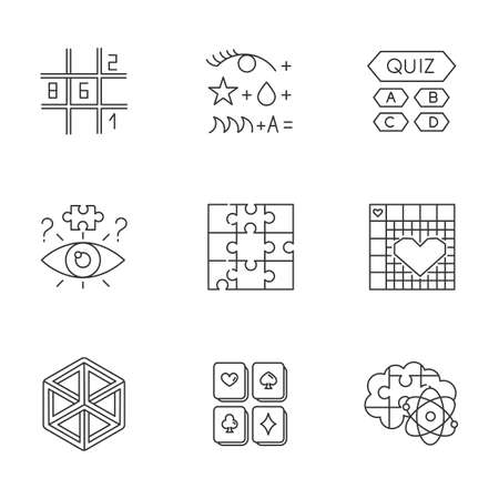 Puzzles and riddles linear icons set. Sudoku. Trivia quiz. Nonogram. Optical illusion. Jigsaw. Brain teaser. Thin line contour symbols. Isolated vector outline illustrations. Editable stroke Illustration