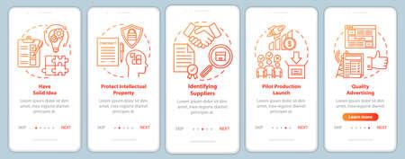 Start local production onboarding mobile app page screen vector template. Have solid idea. Identifying suppliers. Walkthrough website steps, illustrations. UX, UI, GUI smartphone interface concept Vektoros illusztráció